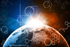 Earth technology background. Planet earth technology background with symbols vector illustration