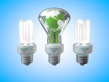 Earth three light bulb Stock Photography