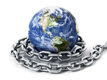 Earth tied with steel chain. 3D illustration Royalty Free Stock Image