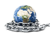 Earth tied with steel chain. 3D illustration Stock Photography