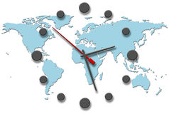 Earth Time clock hands on world map Stock Photos
