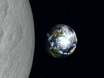 Earth To The Moon 2. A computer created image of earth and the moon Stock Photography