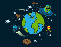 Earth to space and alien. Sat alight and starts cartoon royalty free illustration