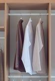 Earth tone shirt in wooden wardrobe. At home royalty free stock photos