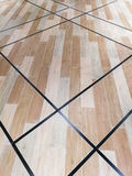 Earth tone wood parquet. Floor with leading line royalty free stock image