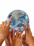 Earth towering human hand Royalty Free Stock Photography