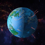 Earth with towers antennas Royalty Free Stock Photos