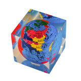 Earth in transparent cube Royalty Free Stock Photography