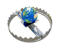 Earth in trap. 3d computer generated image of Earth in trap Stock Photography