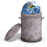 Earth in a trash can Royalty Free Stock Images