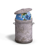 Earth in a trash can Stock Image