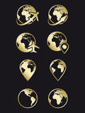 Earth, travel and navigation icons. Earth, travel and navigation golden icons on black backgroud Stock Photos