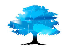Earth tree. Earth as leaf on a black tree. ai file also available stock illustration