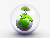 The earth and the tree. In a bubble of glass Stock Images