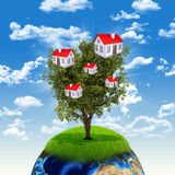 Earth and tree with houses Royalty Free Stock Photography
