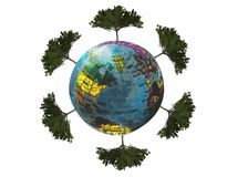 Earth and tree render 3D for concept save earth royalty free stock images