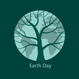 Earth with tree silhouette on it. Earth Day and Go green concept. Vector illustration in eps8 format Stock Image