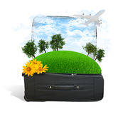 Earth with trees and green grass in travel bag. Elements of this image are furnished by NASA Royalty Free Stock Images