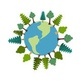 Earth and trees. Green Planet. Vegetation on land. Forest map. e. Co sign Royalty Free Stock Photo