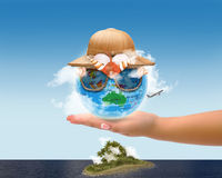 Earth with Tropical Hat and Sunglassess Royalty Free Stock Photography