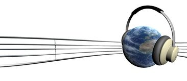 Earth and tune. Spherical earth planet is listening to the music Stock Photography