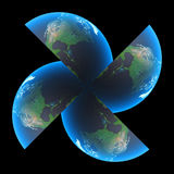Earth turbine. Globe turbine Royalty Free Stock Image