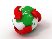Earth with turning arrows. Recycling symbol Royalty Free Stock Photo