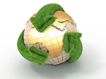 Earth with turning arrows. Recycling symbol Royalty Free Stock Photos