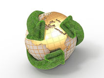 Earth with turning arrows. Recycling symbol Stock Photo