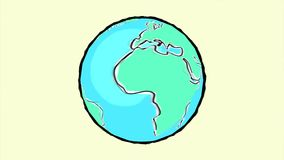 Earth turning hand-drawn. Cartoon style. Seamless 4k footage stock footage