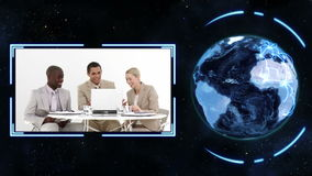 Earth turning on its axis longside videos of business people at work with earth image courtesy of Na Royalty Free Stock Photos