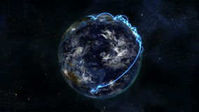 Earth turning on itself with moving clouds and blue connections with Earth image courtesy of Nasa.or stock footage