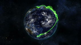 Earth turning on itself with moving clouds and green connections with Earth image courtesy of Nasa.o stock video
