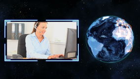 Earth turning next to a video of women making calls with Earth image courtesy of Nasa,org Stock Photos