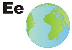 Earth and two letters. Earth with two black letters e on a white background royalty free illustration