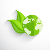 Earth with two leaves Stock Image