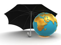 Earth with umbrella Stock Photo