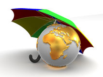 Earth with umbrella. 3d Very beautiful three-dimensional illustration Royalty Free Illustration