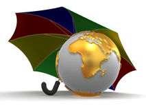 Earth with umbrella. 3d Very beautiful three-dimensional illustration Stock Illustration