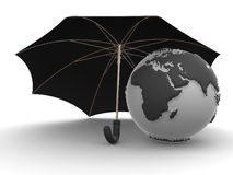 Earth with umbrella Royalty Free Stock Image