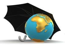 Earth with umbrella Stock Photo