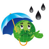 Earth with umbrella Stock Photography