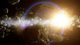 Earth is under asteroids attack. 3D Earth rendered in unreal environment with asteroids Royalty Free Stock Photography