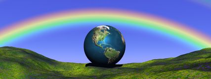 Earth under rainbow Stock Photography