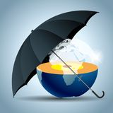The earth is under an umbrella. Isolated over white background Royalty Free Illustration