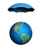 Earth under Umbrella Royalty Free Stock Photos