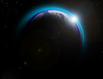 Earth in the univers. The Earth view in the night Royalty Free Stock Photo