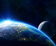 Earth Usa, horizon and moon. In blue stock illustration