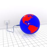 Earth usb. 3d illustration of earth plugged in a usb cable Royalty Free Stock Images