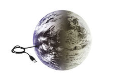 Earth with usb connection. The planet earth connected to a wire with a usb port Royalty Free Stock Image